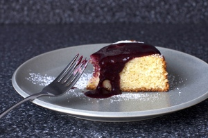 lemon cake with blueberry sauce
